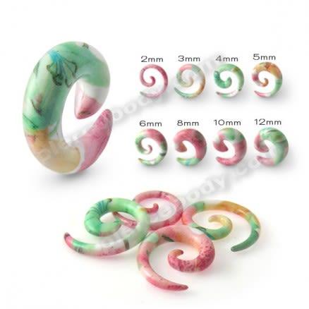 Colorful Fancy Flower UV Acrylic Spiral Ear Taper