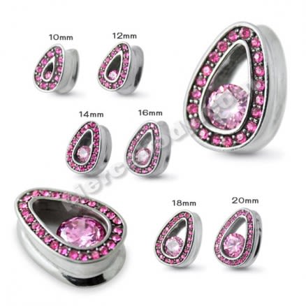 Pink Jeweled Tear Drop Ear Plug