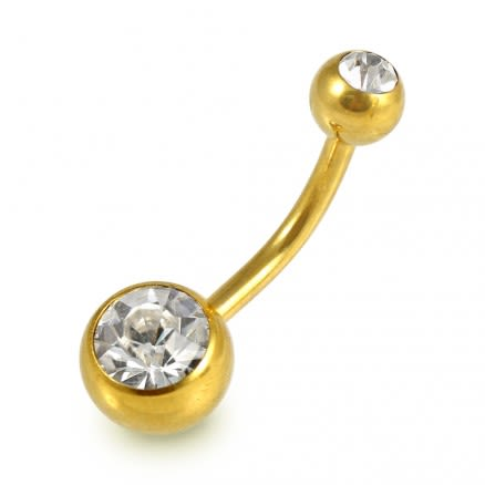 G23 Grade Gold Anodized Titanium Double Jeweled Belly Banana Ring