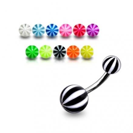 SS Belly Banana Bar With Black And White UV Balls