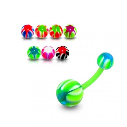 UV 10mm Banana Bar Belly Ring Body Jewelry With Mix Color UV Balls
