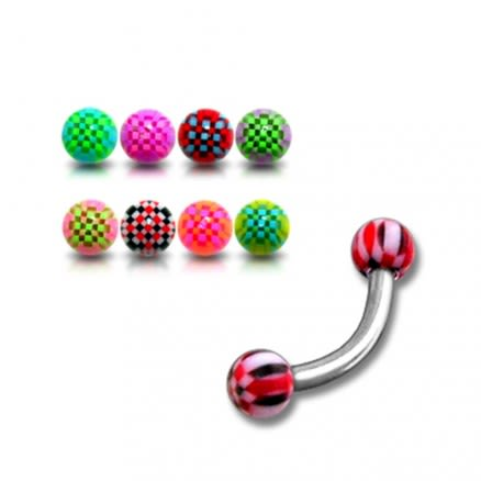 SS Eyebrow Banana Bar Ring with Checkered Multi Color UV Balls