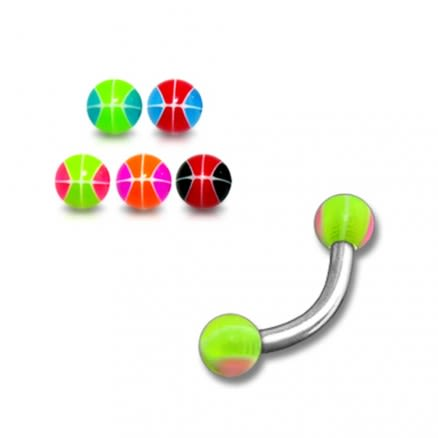SS Curved Bar With Green Mix Color UV Balls Lip Ring