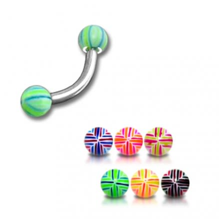 SS Banana Bar Lip Eyebrow Ring With Multi Color 3mm UV Balls