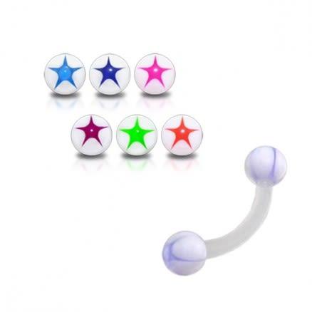 White UV Eyebrow Bar with Blue Star Printed UV Balls