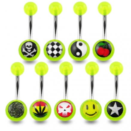 SS Green Navel Banana Ring With UV Logo Balls
