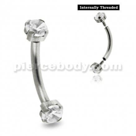 316L Surgical Steel Internally Threaded Eyebrow Curve