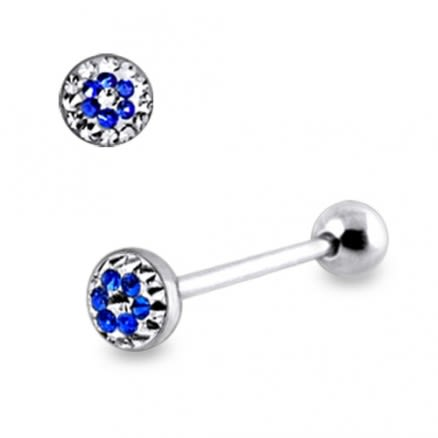 Surgical Steel Tongue Barbell With Multi Crystal Epoxy