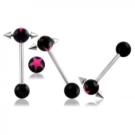 SS Tongue Barbell with UV Ball