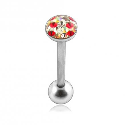 SS Tongue Barbell with Red Epoxy covered crystals body Jewelry
