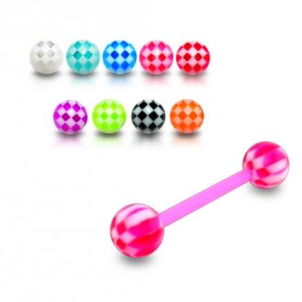 UV Tongue Barbell With Checks UV Balls