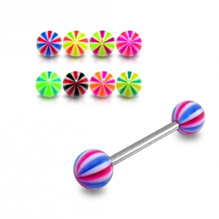 SS Tongue Barbell With Suction Hold Illusion UV Design Spiral Ball ToSS Tongue Barbell With Suction Hold Illusion UV Design Spiral Ball Tongue Studngue Stud