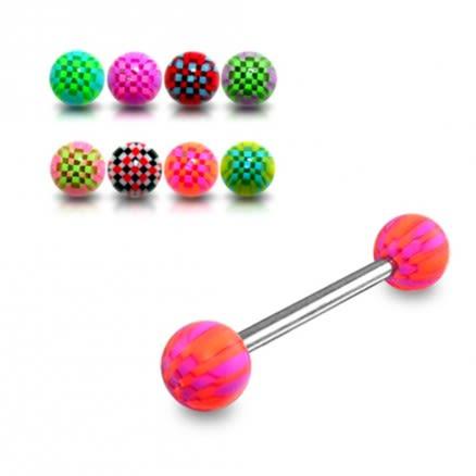 SS Tongue Barbell with Pink Checkered UV Acrylic Balls