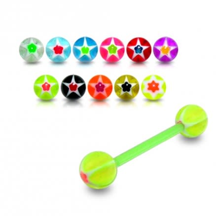 Glow Ball UV Tongue Bars Rings Body Piercing Belly Button Ring Stud