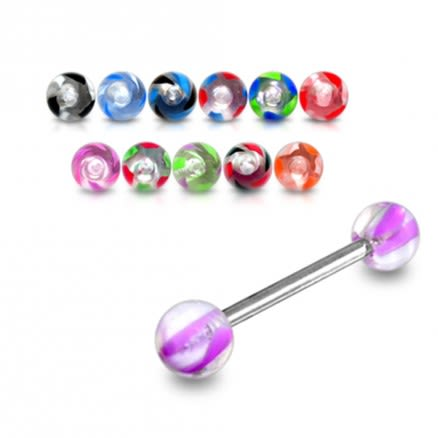 16 to 19 mm SS Tongue Barbell with Multi Color UV Balls