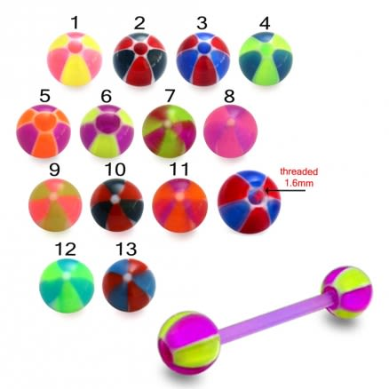 Football Print UV Tongue Barbell with UV Balls