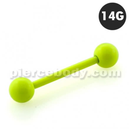 Neon Yellow 316L Surgical steel Straight Barbells