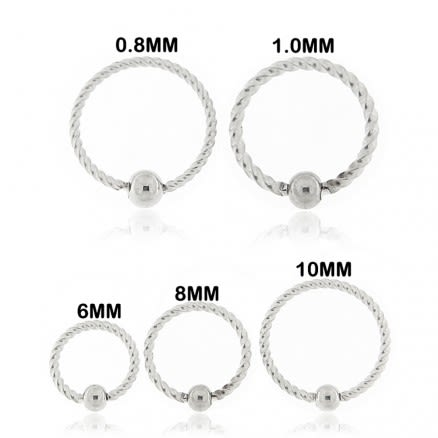 Flexible Surgical Steel Twisted BCR Piercing