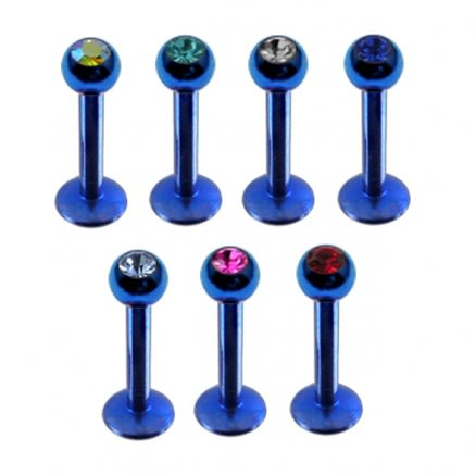 Blue Anodized Labrets with Stone Ball