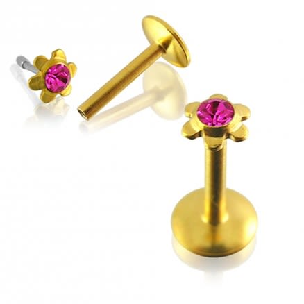 Flower Shaped Gold Plated jewelled Madonna Labret