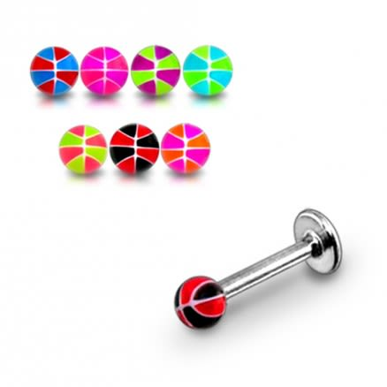 SS Labret Body Piercing Ring With Acrylic UV Mix Color Fancy Balls