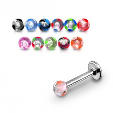 SS Labret Mix Color Threaded UV Fancy Acrylic Ball