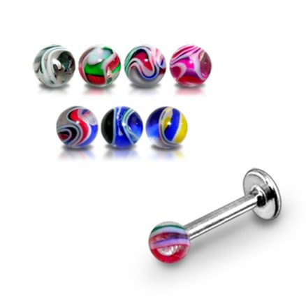 Straight Surgical Steel & UV Fancy Multi Color Ball Tongue Barbells