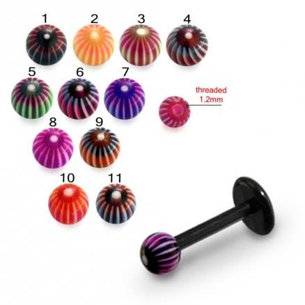 Mixed Color UV Fancy Ball Bead Lip Chin UV Bar Labrets