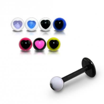UV Labret With UV Acrlic Fancy Heart Print Balls