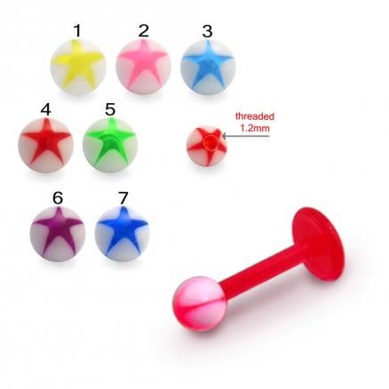 UV Labret With UV Fancy Bead Lip Chin Piercing Star Printed Balls