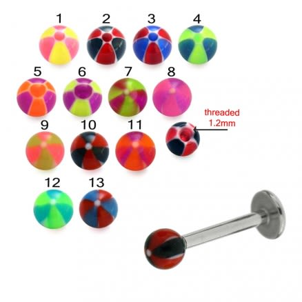 Mix Color Threaded SS Labret UV Star Printed Balls
