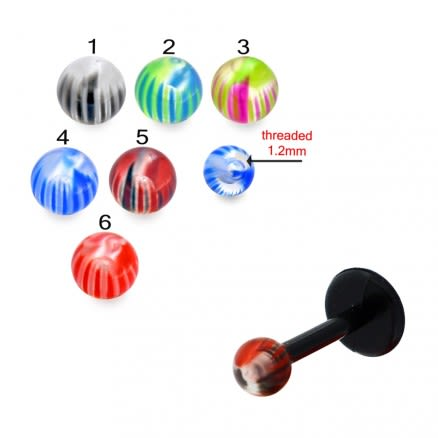 UV Labret With UV Mix Multi Design Fancy Colorful Piercing Balls