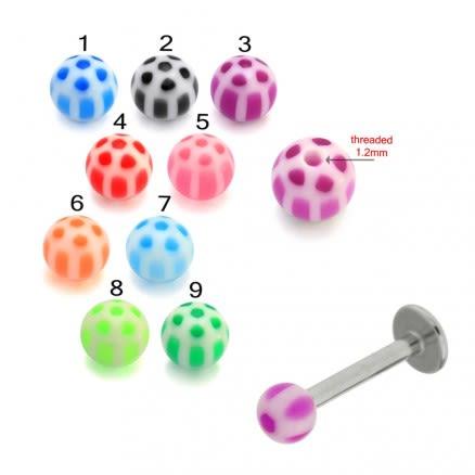 Mix Color Threaded SS Labret UV Slave Balls