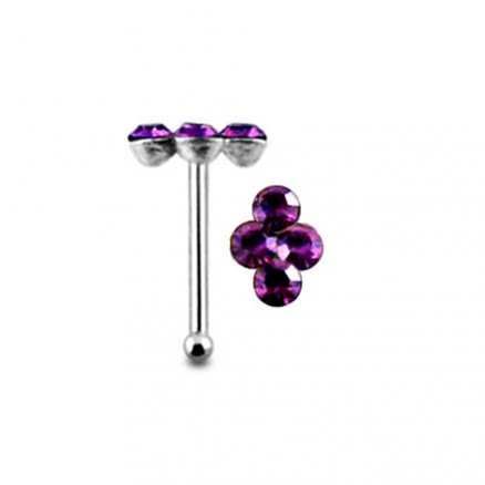 Diamond shape 4 stone Ball End Nose Pin