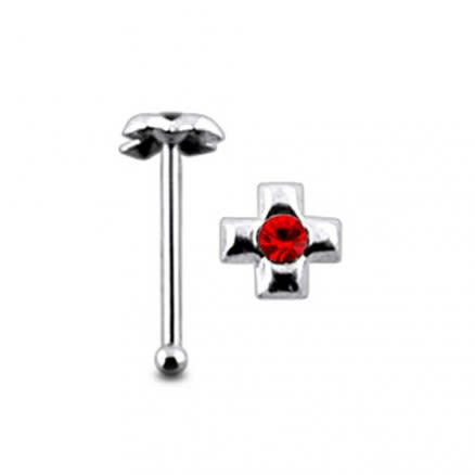 Jeweled Cross Ball End Nose Pin