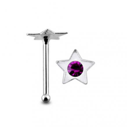 Jeweled Star Ball End Nose Pin