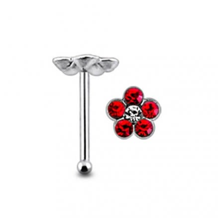 Flower with Center Clear Stone Ball End Nose Pin
