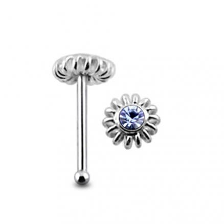 Gemmed Coiled Flower Ball End Nose Pin