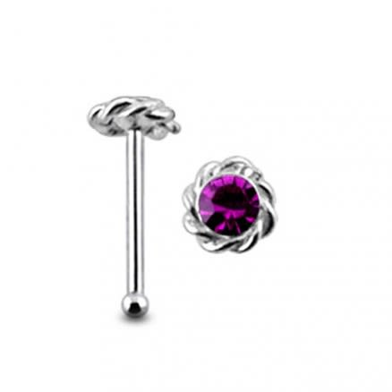 Gemmed Twined Flower Ball End Nose Pin