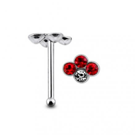 Diamond shape Ball End Nose Pin with Clear Stone