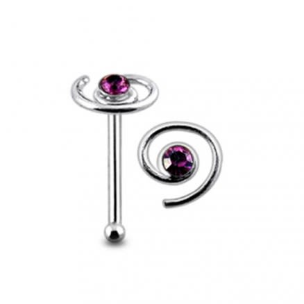 Jeweled Spiral Ball End Nose Pin