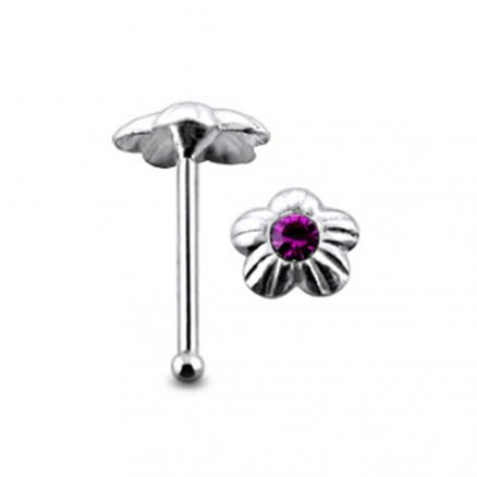 Jeweled Flower Ball End Nose Pin
