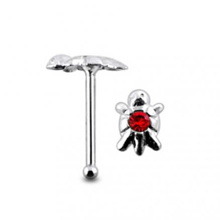 Jeweled Turtle Ball End Nose Pin