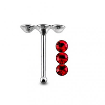 Triple Jeweled Ball End Nose Pin