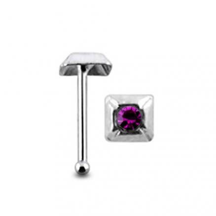 Jeweled Pyramid Ball End Nose Pin