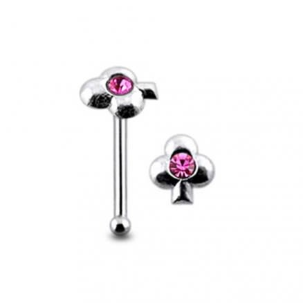 Jeweled Clover Ball End Nose Pin