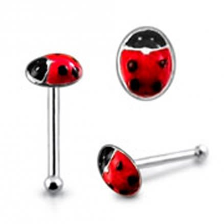 Hand Painted Ladybug Ball End Nose Pin