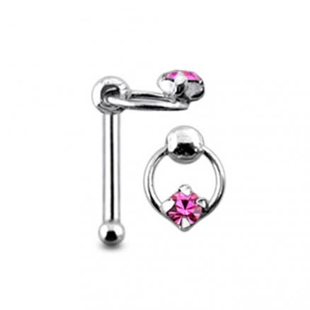 Claw Set Jewel on Moving Ring Ball End Nose Pin