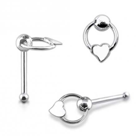 Plain Heart on Moving Ring Ball End Nose Pin