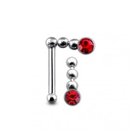 Jeweled Chain Dangling Ball End Nose Pin